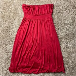 Banana Republic Red Silk Strapless Dress 6
